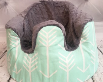 Mint arrows & Charcoal Minky Bumbo Cover