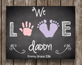 50% OFF SALE - Father's Day - Instant Download - Chalkboard - Printable PDF - Baby's Footprint - Feet - Handprint