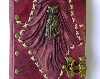 Leather Journal/Leather Notebook/Leather Sketchbook/Leather Diary/Owl on Magenta/Non Refillable/Stitched Patchwork With C-Hook Lock