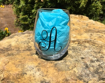 Personalized Initial monogrammed Stemless Wine Glass