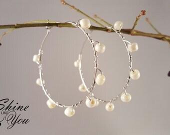 Wire Wrapped Beads Hoop Earrings