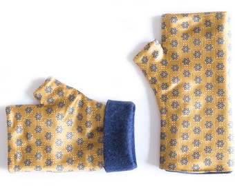 Wrist warmers – Floral fingerless gloves – Golden yellow long arm warmers – Winter gloves –Wool and silk mittens –Hand warmers
