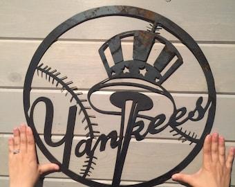 New York yankees metal art- yankees home decor- New York yankess wall decor-Major League Baseball decor- mlb art- baseball man cave decor