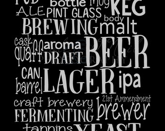 11x14 Beer Brewing Print on Canvas-fully customizable