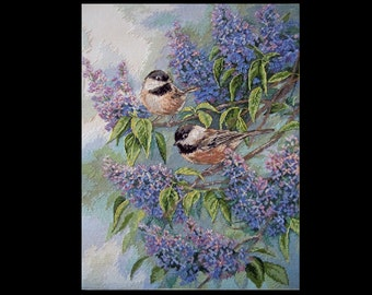 Chickadees and Lilacs Completed Cross Stitch handmade embroidery unframed 38cm*29cm