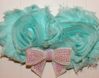 Aqua Headband, Baby Headband, Infant Headband, Girls Headband, Toddler Headband, Newborn Headband, Shabby Flower Headband, Flower Headband