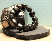 Shungite bracelet tumbled stones  EMF protection gift for him her, crystal healing chakra balancing reiki