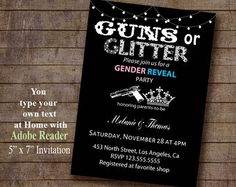 Guns or Glitter Gender Reveal invitation Editable Printable  You type your text at home with latest ADOBE READER Instant Download PDF A409