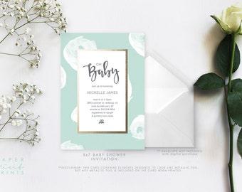 Baby Shower Invitation, Bold Polka Dot, Simple, Modern, Chic, DIY, Printable