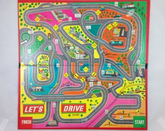Vintage Board Game Replacement Board, 1968 Milton Bradley Game Let's Drive, Repurposing, Display Piece, Craft Supply, Colorful Board Game