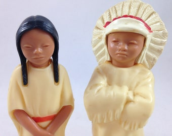 Vintage Native American Celluloid Figures, Native American Chief & Young Maiden, 1950s Plastic Toy Figures, Small Indian Figurines