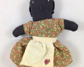Black Americana cloth doll - vintage folk art black doll - African American cloth doll - Small cloth rag doll - Primitive soft doll