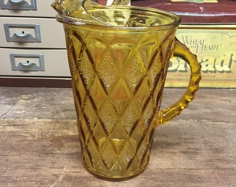 Vintage pitcher Cool amber glass