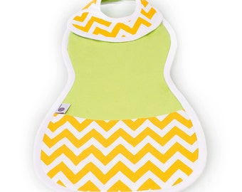 Lime Green and Yellow Chevron Bib and Burp Cloth All-in-One