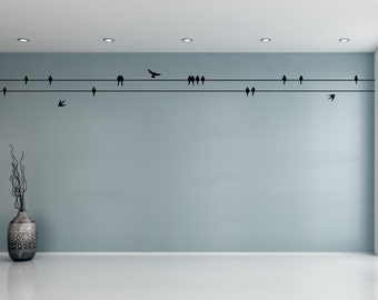 Perched Birds Wall Sticker - Sitting & Flying Birds - Bird Wall Decal | Flying birds wall decor | Flock of birds on wire wall decal