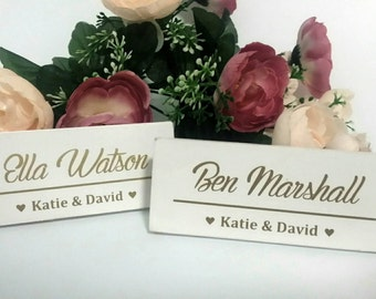 Personalised timber wedding table place cards. Wedding favours. Gift. Name tag.