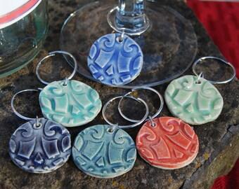 Wine Glass Charms - Wine Charms - Set of 6 Handmade Stoneware Wine Glass Charms