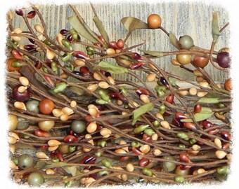 Barn Red, Sage & Tan Berry Garland, Mixed Berry Garland, Primitive Garland, Fall Garland, Rustic Home Decor