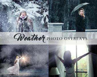 40 Weather photo overlays, Rain overlays, Snow overlays, Sun Lens Flare overlays, Fog overlays, photoshop overlays