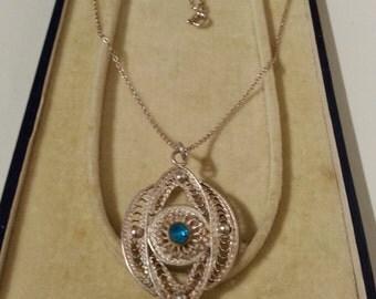 Sterling Silver Filigree Pendant & Chain