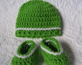 Together bonnet and booties for newborn baby, tuque baby, booties baby