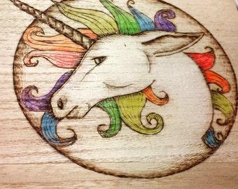 Large wooden  box, unicorn, gift for teenagers, rainbox unicorn jewellery box, large trinket box, keepsake box, mythical creature,