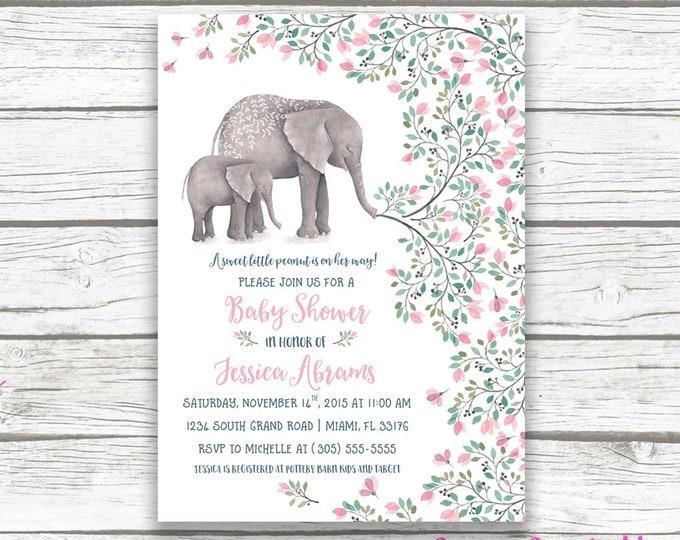 Pink Elephant Baby Shower Invitation, Boho Baby Shower Invitation, Girl Elephant Baby Shower, Little Peanut Printable Invitation