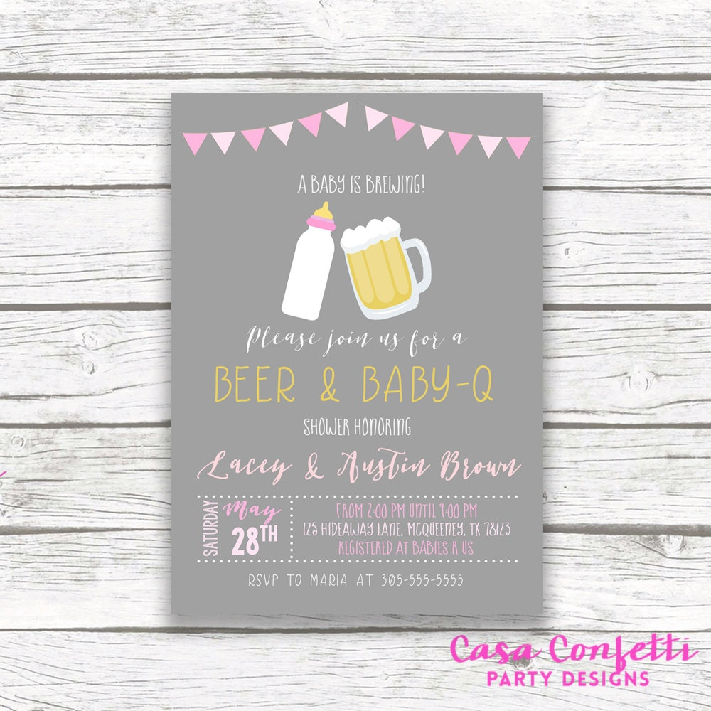 Baby Q Invitation Couples Shower Invitation Barbecue BBQ Baby