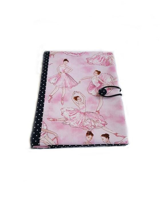 Fabric book cover, journal cover, cotton book cover, notebook cover, book protector, reusable book cover, traveler book cover,ballerinas