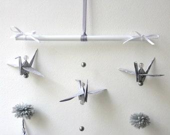 Mobile suspension origami crane crane grey decoration