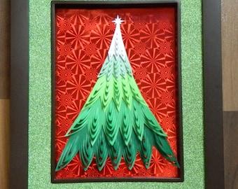 3D Paper Sculpture Christmas Tree Shaggy