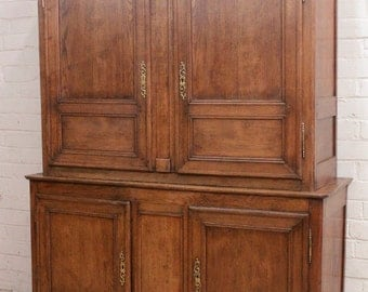 French Country Cabinet Oak 19th Century Kitchen, Den, TV Storage #5871