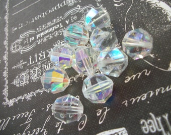 Vintage Multifaceted Polished Aurora Borealis Glass Beads- 10 Count