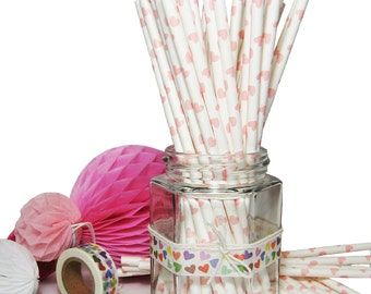 Straws 25x paper drinking light pink hearts party birthday vintage wedding favour