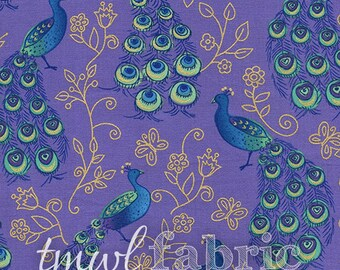 Woven Fabric - Purple Peacocks w/Metallic - Fat Quarter Yard +