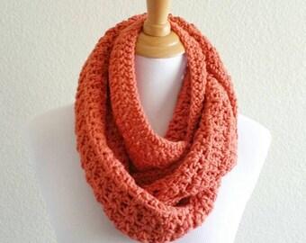 Orange Infinity Scarf, Orange long scarf, Orange infinity cowl, crochet cowl, crochet infinity scarf, Orange crochet cowl, Orange loop scarf