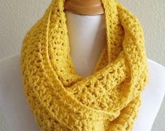 Yellow Infinity Scarf, Yellow long scarf, yellow infinity cowl, crochet cowl, crochet infinity scarf, yellow crochet cowl, yellow loop scarf