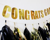 Graduation Banner - Graduation Decor - Congrats - Graduation Tassels - Black and Gold Party - Graduation Party Banner  - 50th - 30th