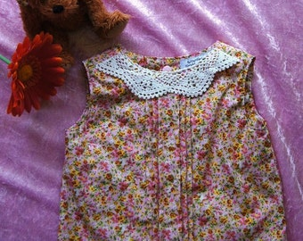 Girls Pleated Top with crochet collar - Pretty Pleats in Pink