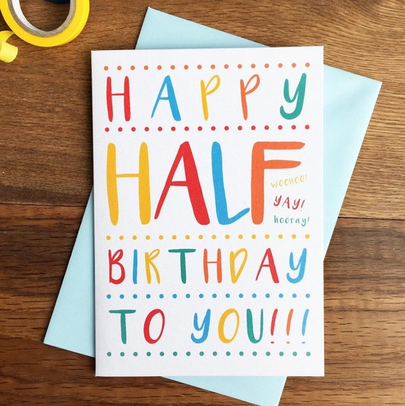 month birthday / half birthday card baby boys girls, Birthday card