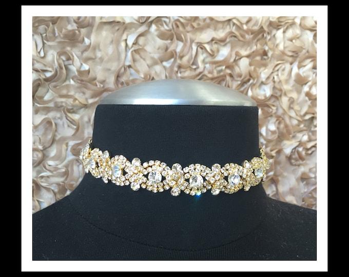 Gold Diamond Rhinestone Choker #C106