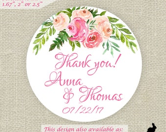 Wedding Favor Stickers - Thank You, Bridal, Baby Shower Pink Floral (12) 2.5 in (20) 2 in (24) 1.67 in (63) 1 in circle stickers - Favor Bag