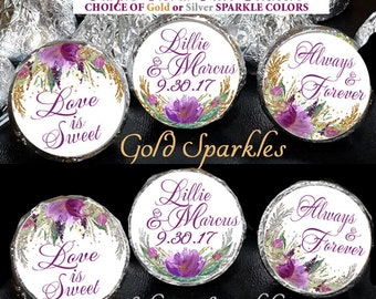 108 Hershey Kiss® Stickers - Wedding Shower Favors, Purple or Pink Floral, Wedding Favors, Hershey® favors Gold or Silver Faux Sparkles