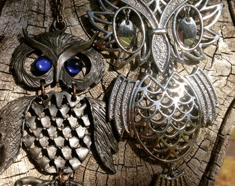 Two Fun Owl Articulated Necklaces