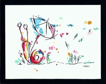 Classy Snail *Original Ink and Watercolor Painting*
