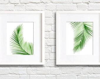 Palm Leaves Art Prints - Set of Two - Wall Decor - Watercolor Painting