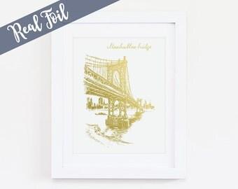 Manhattan Bridge, Manhattan Bridge Wall Art, New York City Art, NYC Wall Art, NYC Landmark, Landmarks, New York, , Gold Foil Print