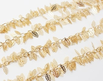 N0021/Anti-Tarnished Gold Plating Over Brass/Bunch Leaves Charm Chain/9mmx5mm,5mm Link/1yard
