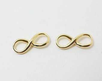 P0362/Anti-Tarnished Gold Plating Over Brass/Infinity Pendant/15x 6mm/2pcs