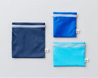 "Trio of reusable sandwich and snack bags ~ Atlantic ~ replaces ""ziplocs"" bags"